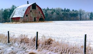 Barn after a snowstorm
