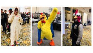 Folks in chicken costumes