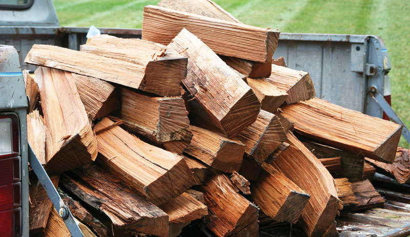 stacked wood for burning