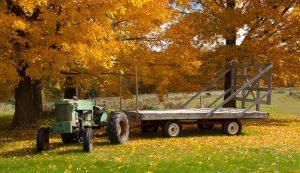 tractor wagon fall weather northern farmer