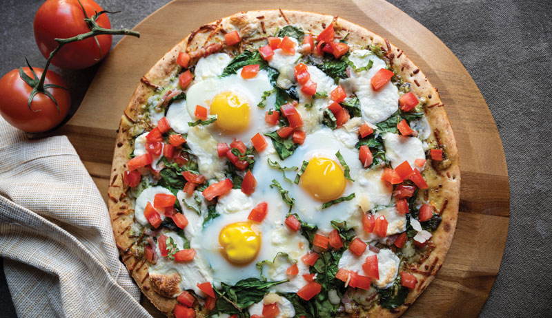 brunch pizza eggs spinach tomatoes basil