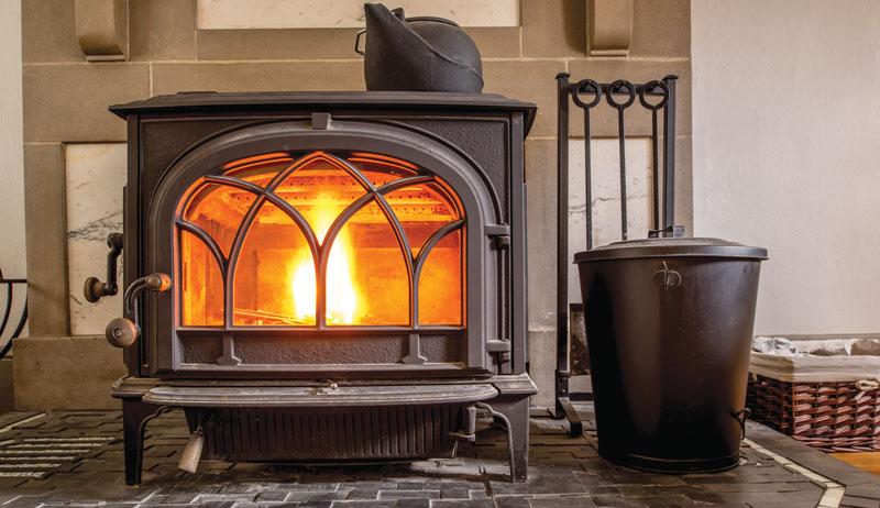 woodstove heating wood