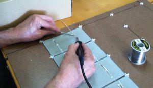 solder DIY solar panels cells