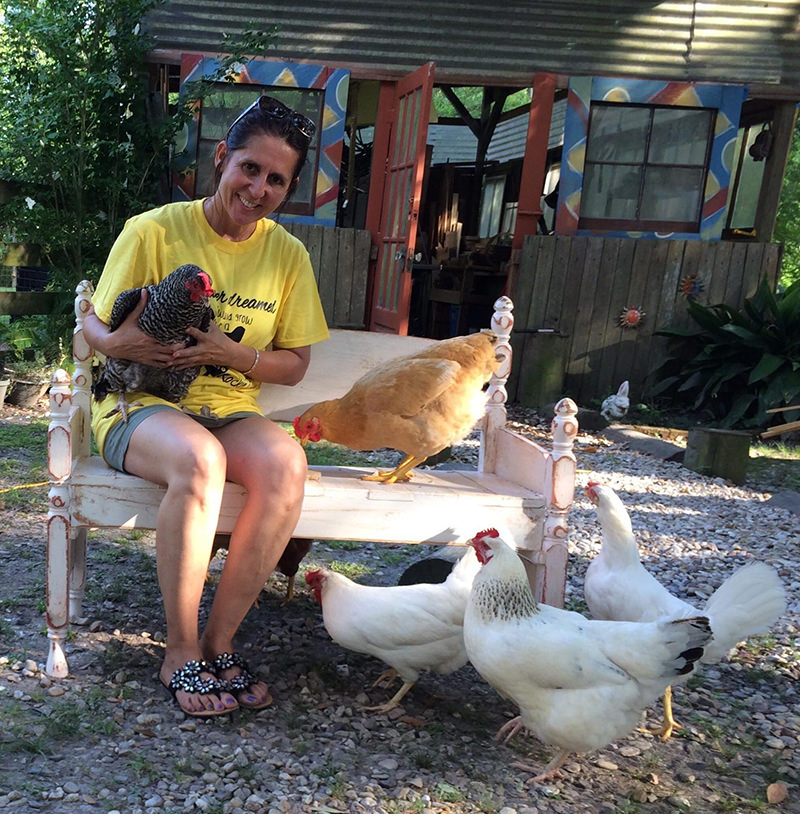 Carmen Knight with chickens