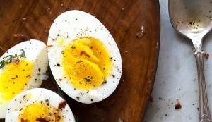 hard boiled egg with seasoned oil