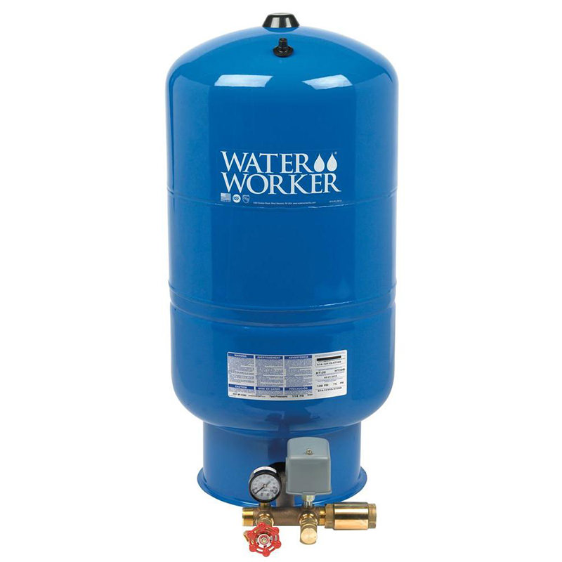 The pressure tank is located at the surface, usually inside a basement, and the water from the well is pushed into the tank by the submersible pump at the bottom of the well. This tank acts as a small storage tank so the pump is not activated if just a small amount of water is used. It also supplies pressure to the system so water reaches all the appliances and fixtures while providing enough force for an enjoyable shower or garden watering.