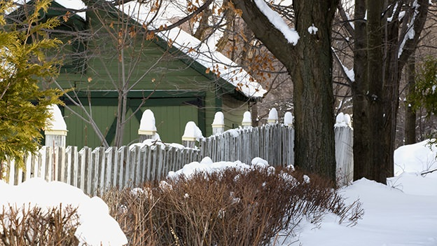 winter landscape, snow, house