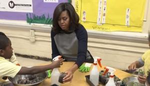 Michelle Obama, school garden, cooking class, elementary school