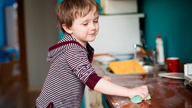 child, chores, child cleaning, kitchen