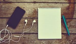 iPod, paper, pen