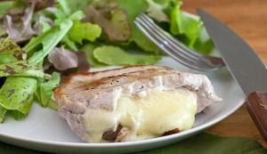 pear- and cheese-stuffed pork chops