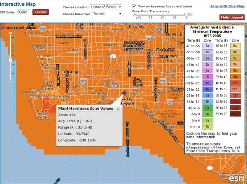 USDA hardiness zone map interactive