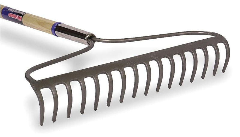 Wooden Handle Metal Garden Yard Hand Tool Soil Bow Rake