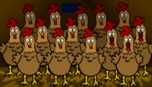 chickens singing Christmas carol