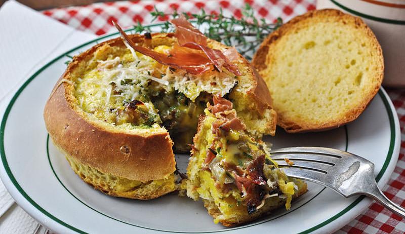 quiche ham mushroom bread bowls recipe