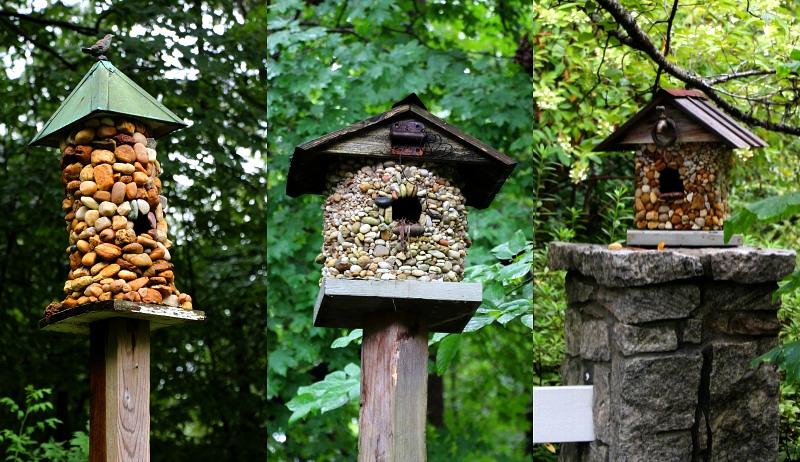 stone-covered birdhouse