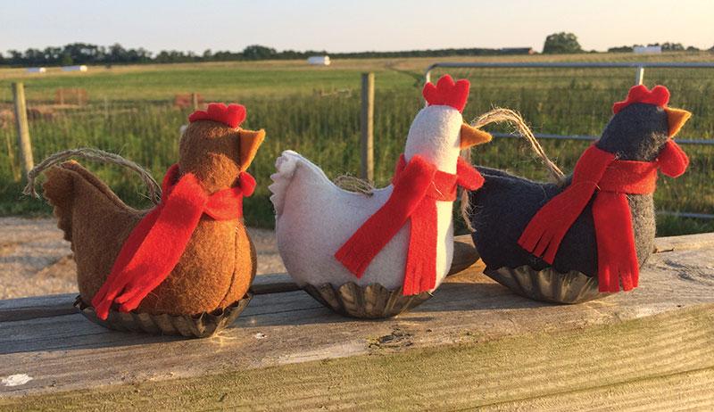 scarfed felt chickens