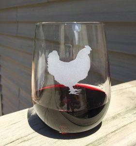 chicken wine glass