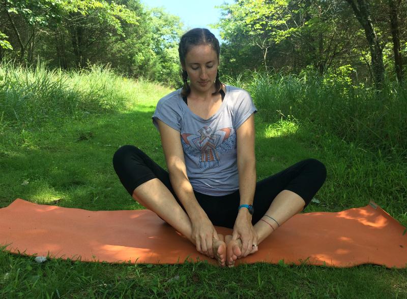 cobbler's pose - foot massage