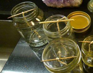 beeswax candles skewers jars