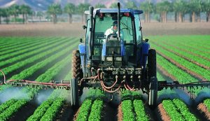 pesticide spraying tractor