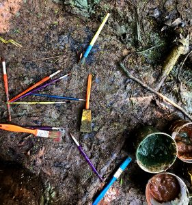 mud paint brushes
